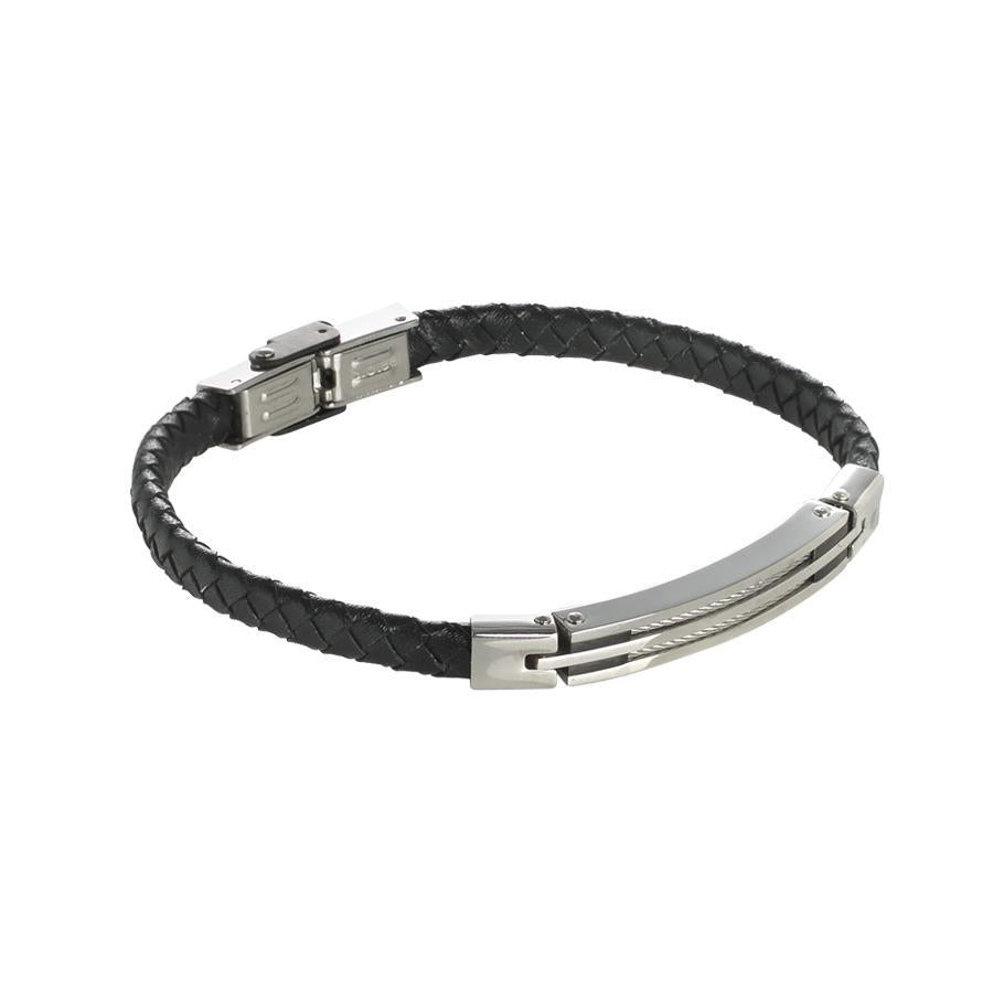 Bracelet in black leather braided with steel inserts and black decorations