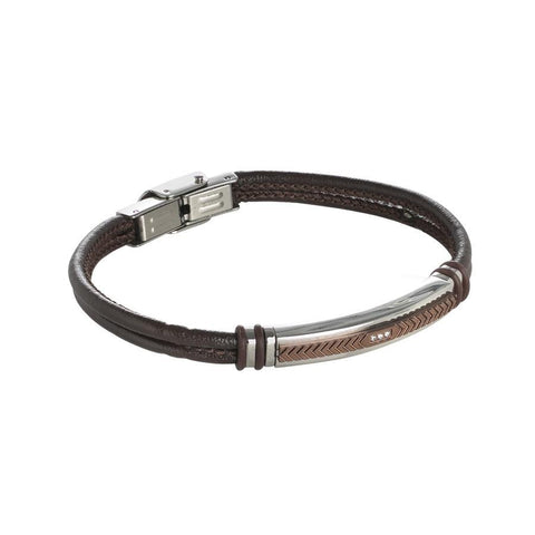 Bracelet double wire brown leather with plate ear and zircons