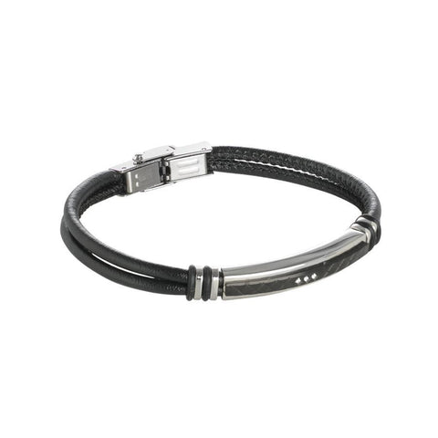 Bracelet double wire black leather strap with ear and zircons