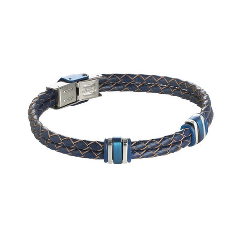 Bracelet in blue leather braided with steel inserts