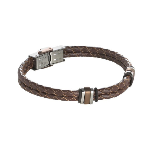 Bracelet in brown leather braided with steel inserts