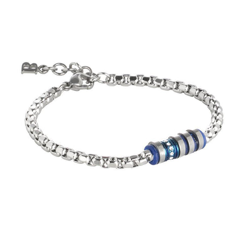 Steel Bracelet with blue elements and zircons