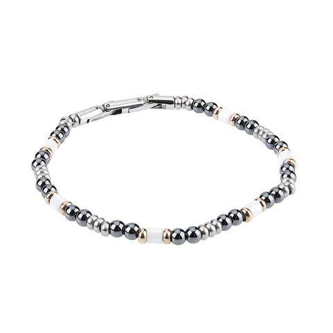 Steel Bracelet with balls of obsidian and ceramic inserts white