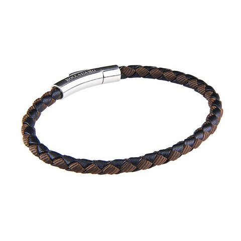 Bracelet in black leather and fabric inttecciato brown