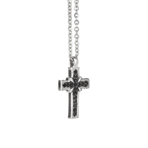 Necklace with crucifix decorated with black cubic zirconia