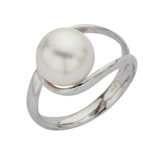 Ring with a pearl white Swarovski wrapped in double soul of silver