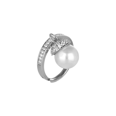 Adjustable ring in silver, zircons and Swarovski pearl