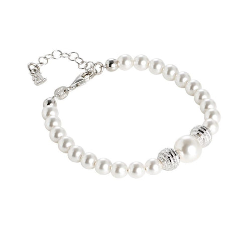Bracelet with Swarovski pearls and diamond balls