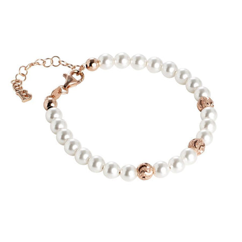 Bracelet rosato with Swarovski pearls and diamond balls wavy effect