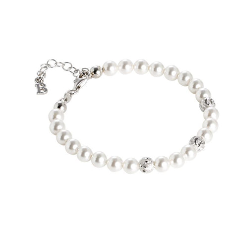 Bracelet with Swarovski pearls and diamond balls wavy effect