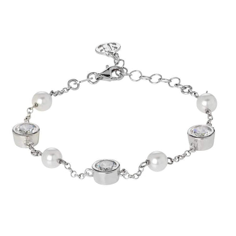 Bracelet with loops of zircons diamond cut and white pearls Swarovski