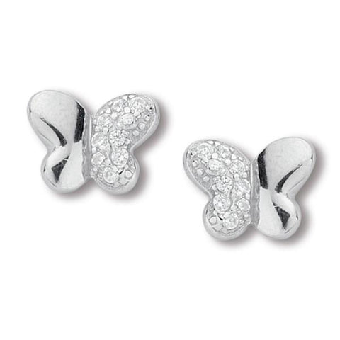 Earrings in the lobe in silver and zircons with throttle