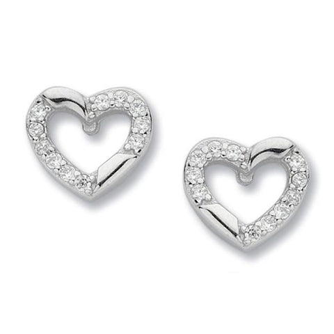 Earrings in heart with zircons