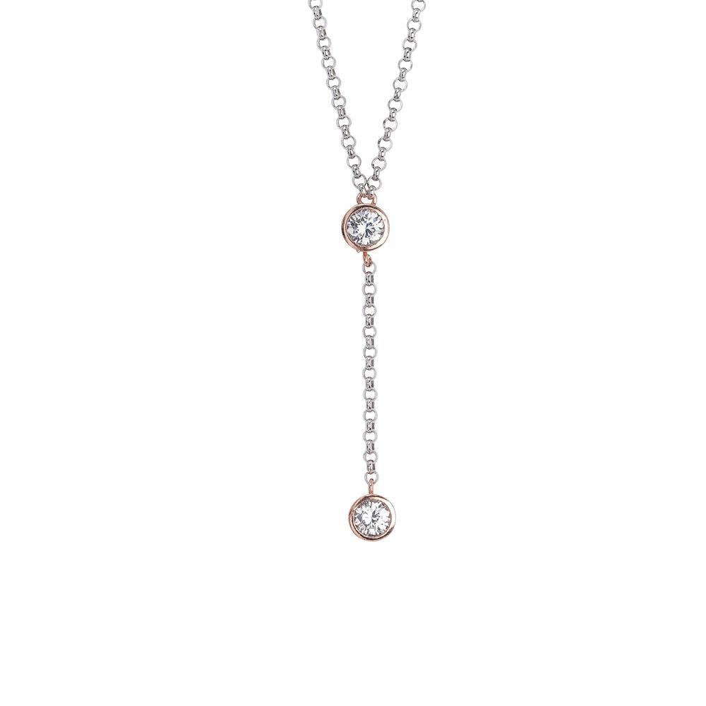 Cravattino necklace with zircon initial and final gold plated pink