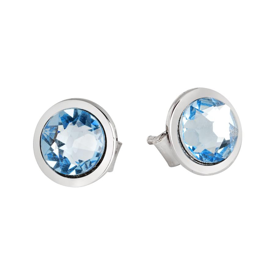 Earrings with aquamarine Swarovski crystals