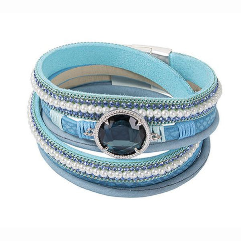 Multiwire Bracelet in blue leather