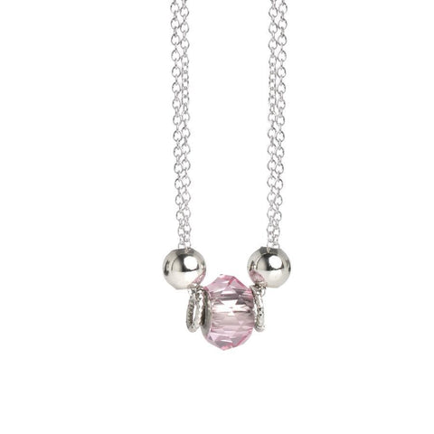 Necklace double thread with Swarovski crystal light rose