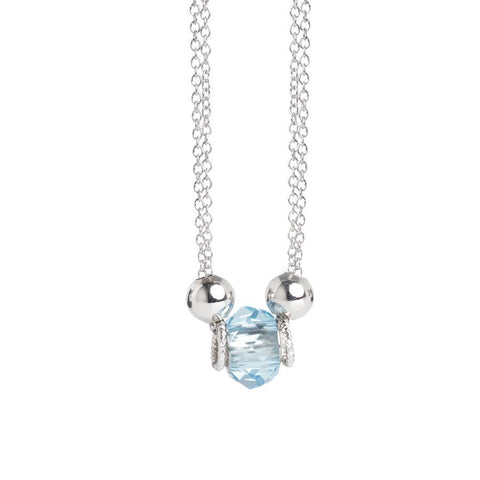 Necklace double thread with Swarovski crystal water marina