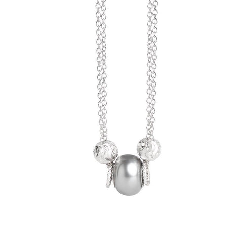 Necklace double thread with SWAROVSKI pearl gray