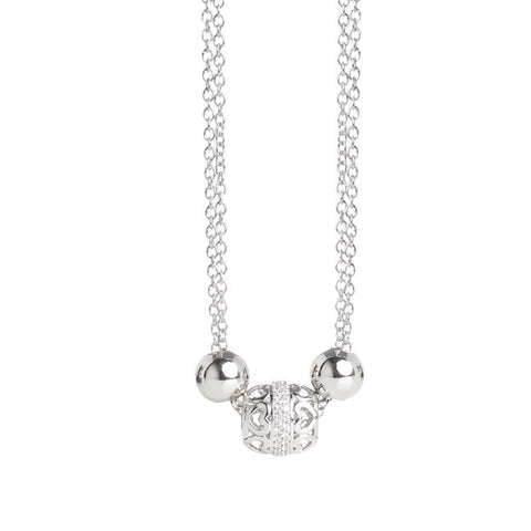Necklace double wire with central loop in hearts zirconates