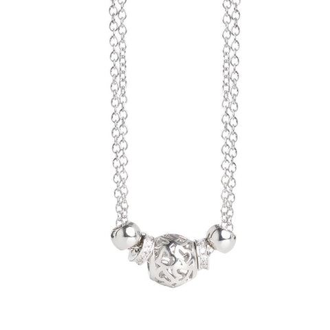 Necklace double wire with washers zirconate and central loop with hearts