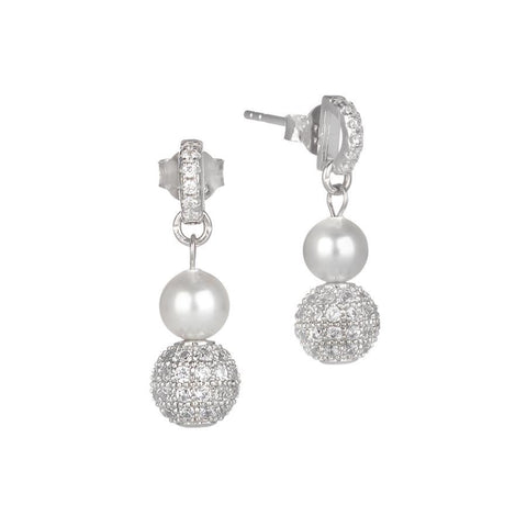 Pendant earrings with pearl Swarovski and zircons