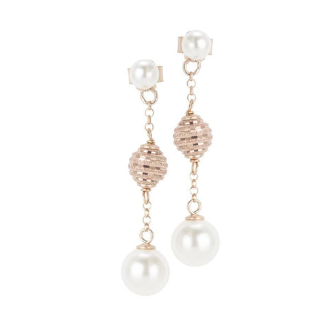 Earrings Pink with Swarovski pearls and diamond balls