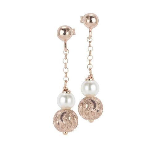 Rose earrings with Swarovski Pearl and diamond ball wavy effect