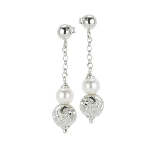 Earrings with Swarovski Pearl and diamond ball wavy effect