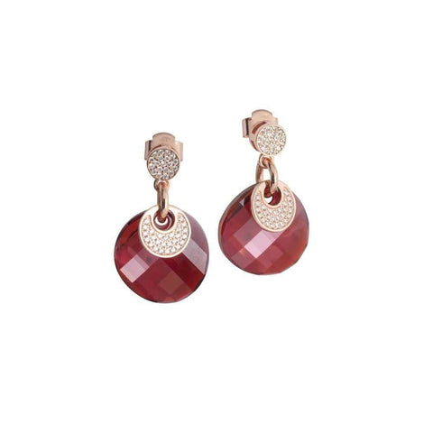 Earrings with Swarovski red magma and zircons