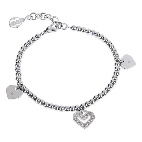 Bracelet bead with charm in the shape of a heart