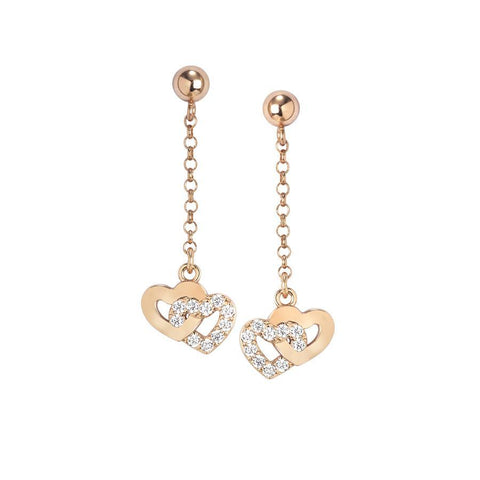 Earrings Pendant rosati with hearts and zircons