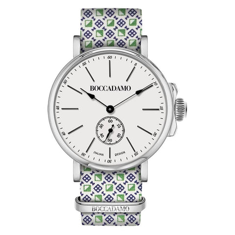Clock with sartorial strap reason optical green and white