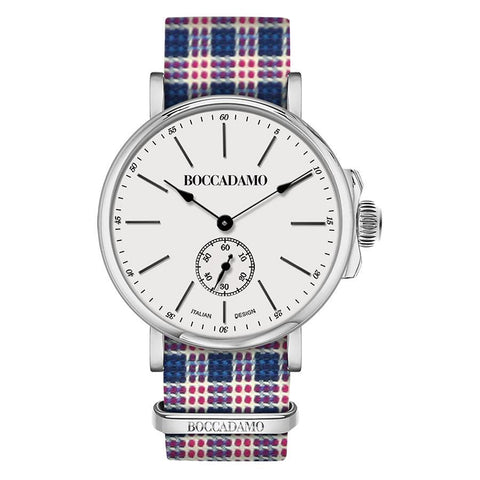 Clock with sartorial strap weft Twill white, blue and red