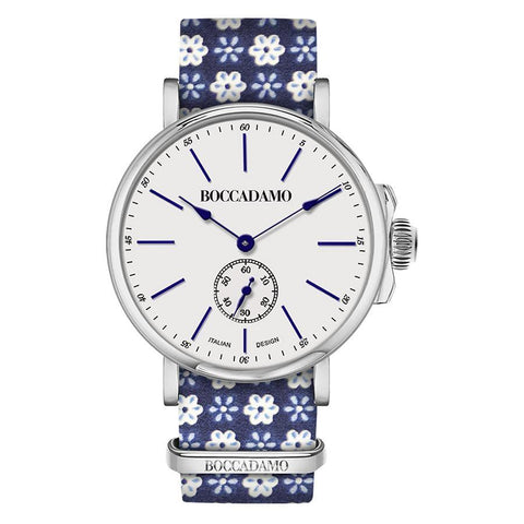 Clock with sartorial strap from fantasy blue floral
