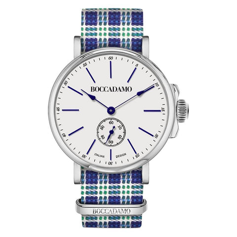 Clock with sartorial strap weft Twill white and green