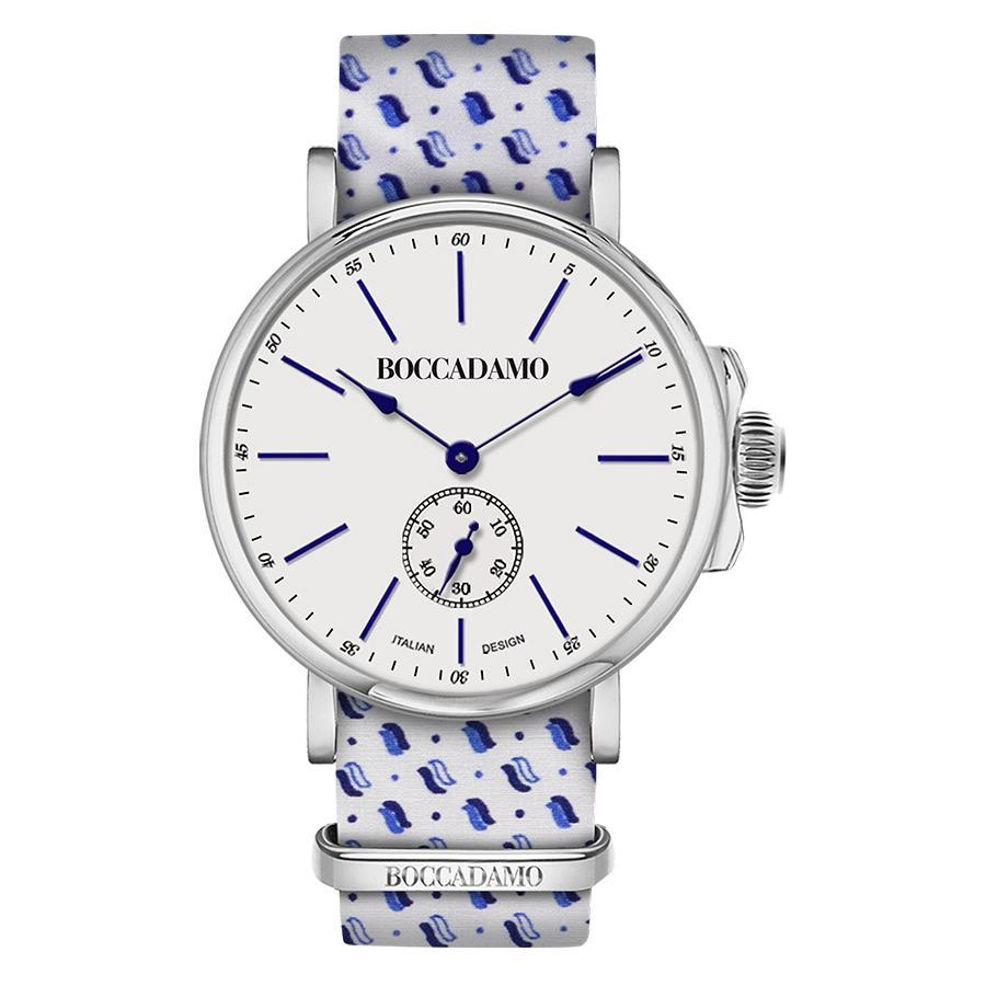 Clock with sartorial strap micro fantasy Blue on White Background
