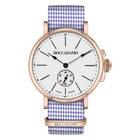 Clock light pink with sartorial strap pied de poule
