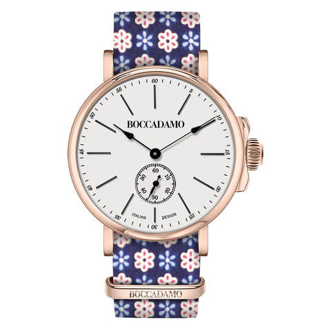 Clock with sartorial strap from the floral fantasy red and blue and pink buckle