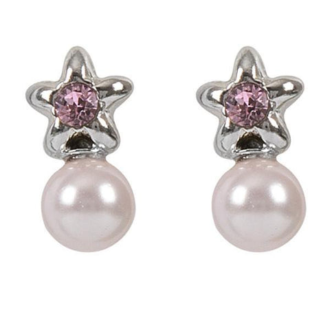 Earrings in the lobe with star, Swarovski Crystal pink and pearl