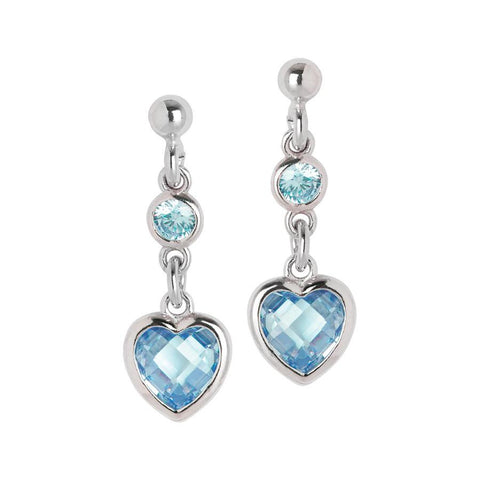 Silver earrings with aquamarine zircons