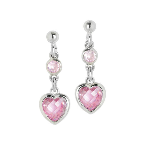 Silver earrings with pink zircons