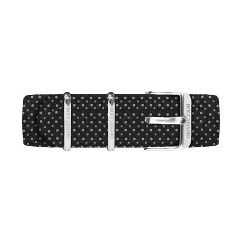White dotted cotton strap on black background