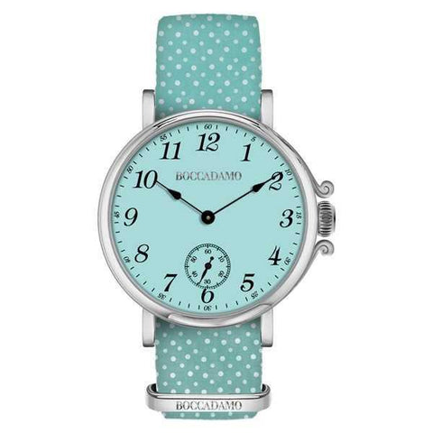 Ladies watch with green dial water and Lanyard Nylon polka dots