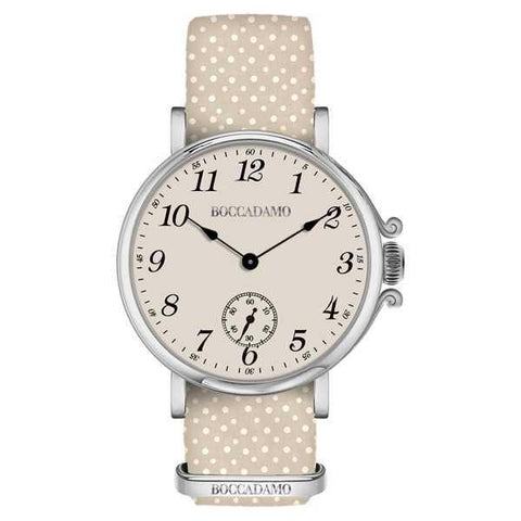 Ladies watch with champagne dial and Lanyard Nylon polka dots