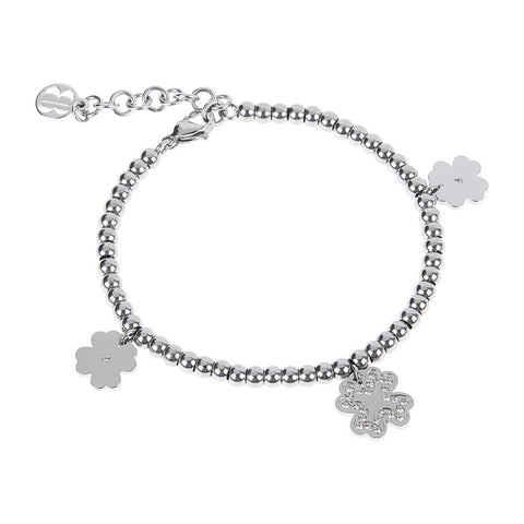 Bracelet bead with charm in the shape of a four-leaf clover
