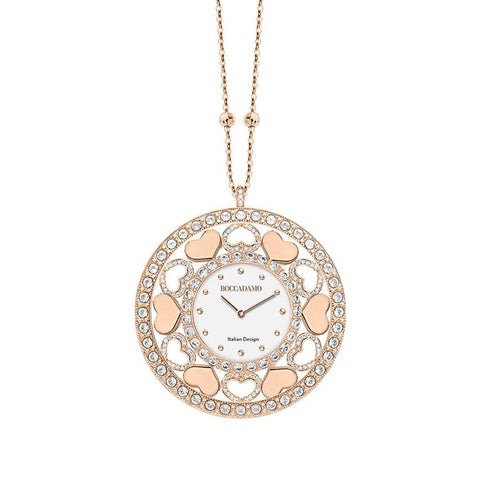 Necklace-clock in bronze plated pink gold with hearts in Swarovski