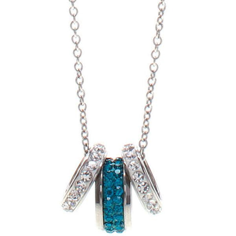 Necklace in steel with passing in pavè of rhinestones and blue and white