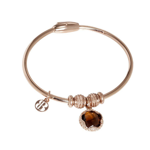 Bracelet with charm in Crystal fumè