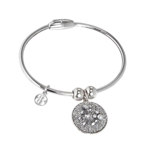 Bracelet with charm composed of galuchat mat silver